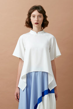 Chinese Collar Swing Top (White)