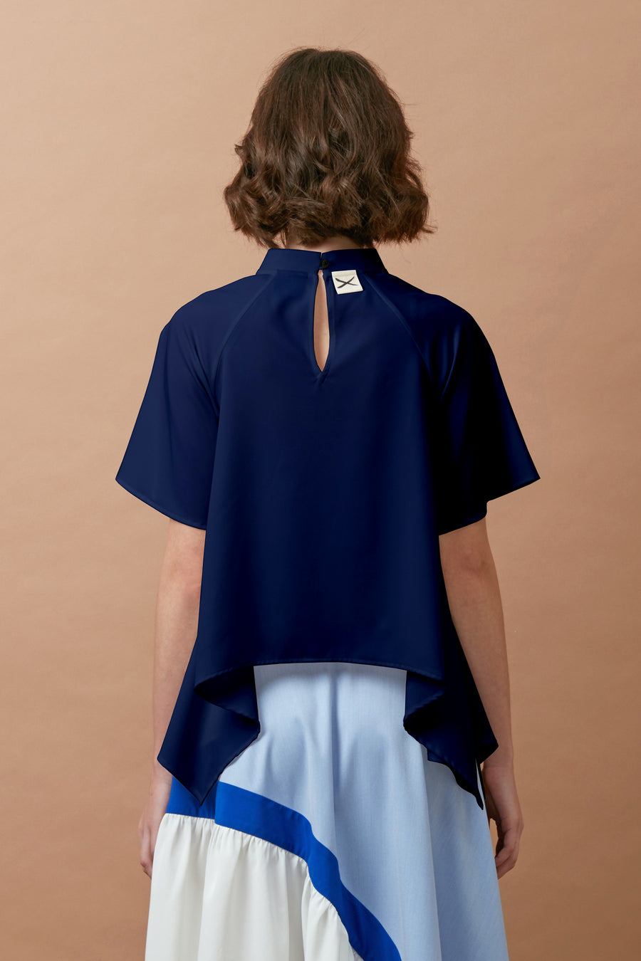 Chinese Collar Swing Top (Navy)