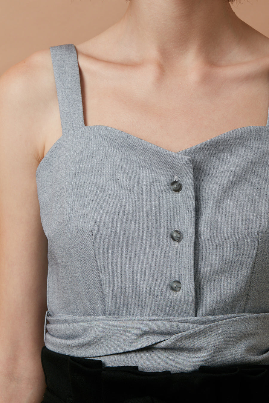 Sweetheart Cropped Top (Light Grey)