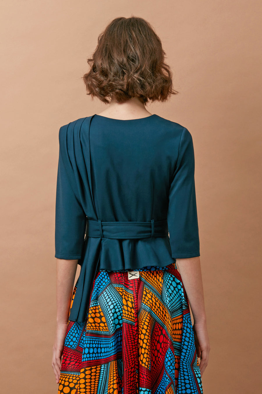 Pleated Shoulder Sash Top (Teal)