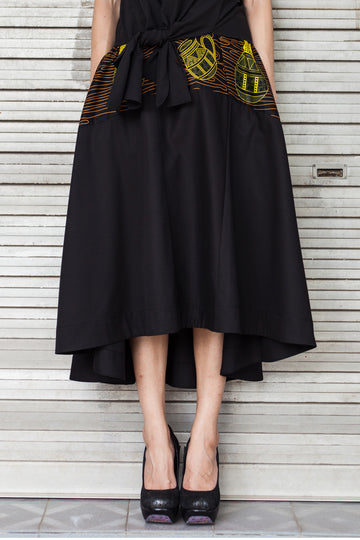 Printed Asymmetrical Hem Skirt