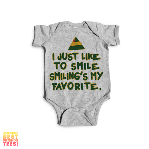 I Just Like To Smile Smiling's My Favorite | Onesie on a super comfortable Onesie for sale at Awesome Best Friends' Tees