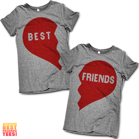 (Sale) Best Friends Heart | Best Friends Shirts on a super comfortable Shirts for sale at Awesome Best Friends' Tees