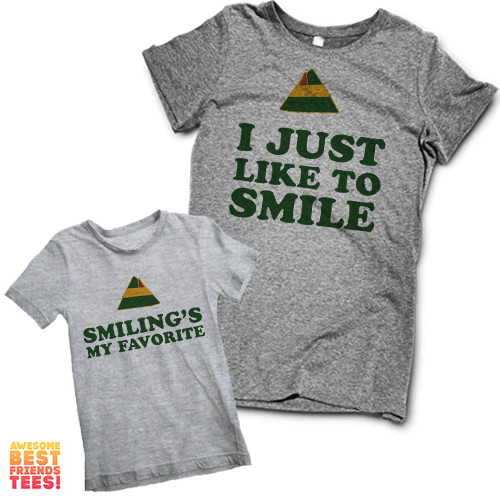 I Just Like To Smile, Smiling's My Favorite! | Kids' & Moms' on a super comfortable Shirts for sale at Awesome Best Friends' Tees