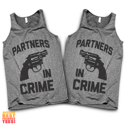 (Sale) Partners In Crime (Black Version) | Best Friends Tanks on a super comfortable Tanks for sale at Awesome Best Friends' Tees