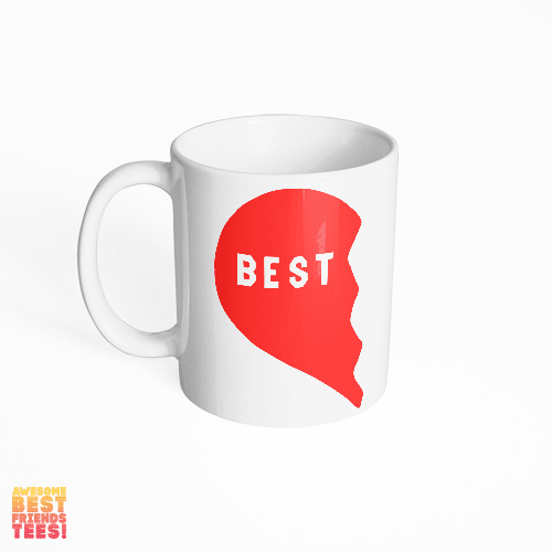 Best Friends Heart, Left 1/2 on a super comfortable mug for sale at Awesome Best Friends' Tees