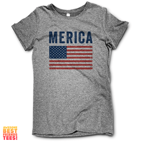 Merica Flag on a super comfortable Shirts for sale at Awesome Best Friends' Tees
