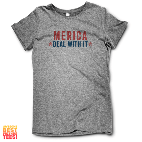 Merica. Deal With It. on a super comfortable Shirts for sale at Awesome Best Friends' Tees