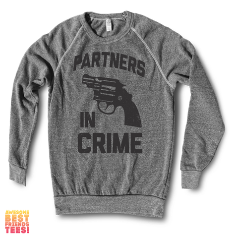 Partners In Crime (Black) Left | Crewneck Sweatshirt on a super comfortable Sweaters for sale at Awesome Best Friends' Tees