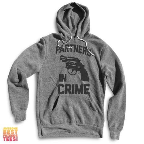 Partners In Crime (Black) Left | Hoodie on a super comfortable Sweaters for sale at Awesome Best Friends' Tees