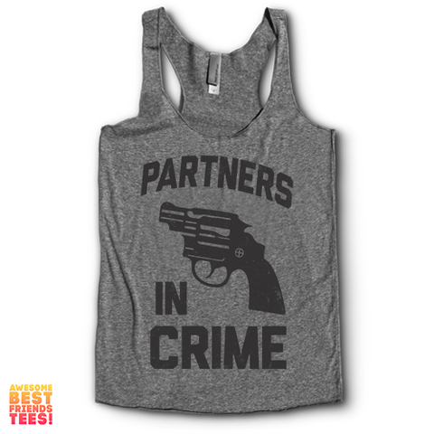 Partners In Crime (Black) Left | Racerback on a super comfortable Racerback for sale at Awesome Best Friends' Tees