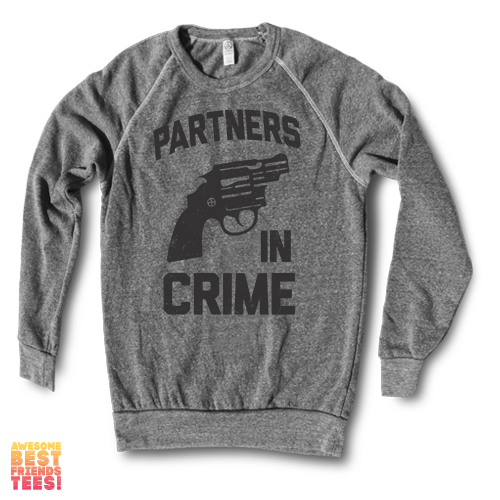 Partners In Crime (Black) Right | Crewneck Sweatshirt on a super comfortable Sweaters for sale at Awesome Best Friends' Tees