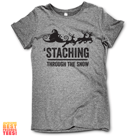 Santa Staching Through The Snow on a super comfortable Shirts for sale at Awesome Best Friends' Tees
