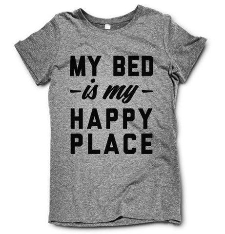 My Bed Is My Happy Place on a super comfortable shirtalt for sale at Awesome Best Friends' Tees