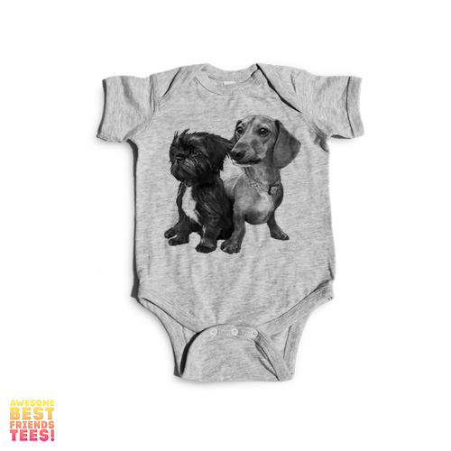 Chewy And Brutus Doin Things | Onesie on a super comfortable Onesie for sale at Awesome Best Friends' Tees