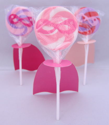 Pink Superhero Lollipops