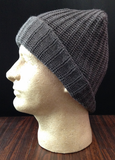 Men's Cableknit Beanie with Suede Tab