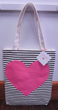 Shop Ban.do Neon heart with stripes Canvas Tote
