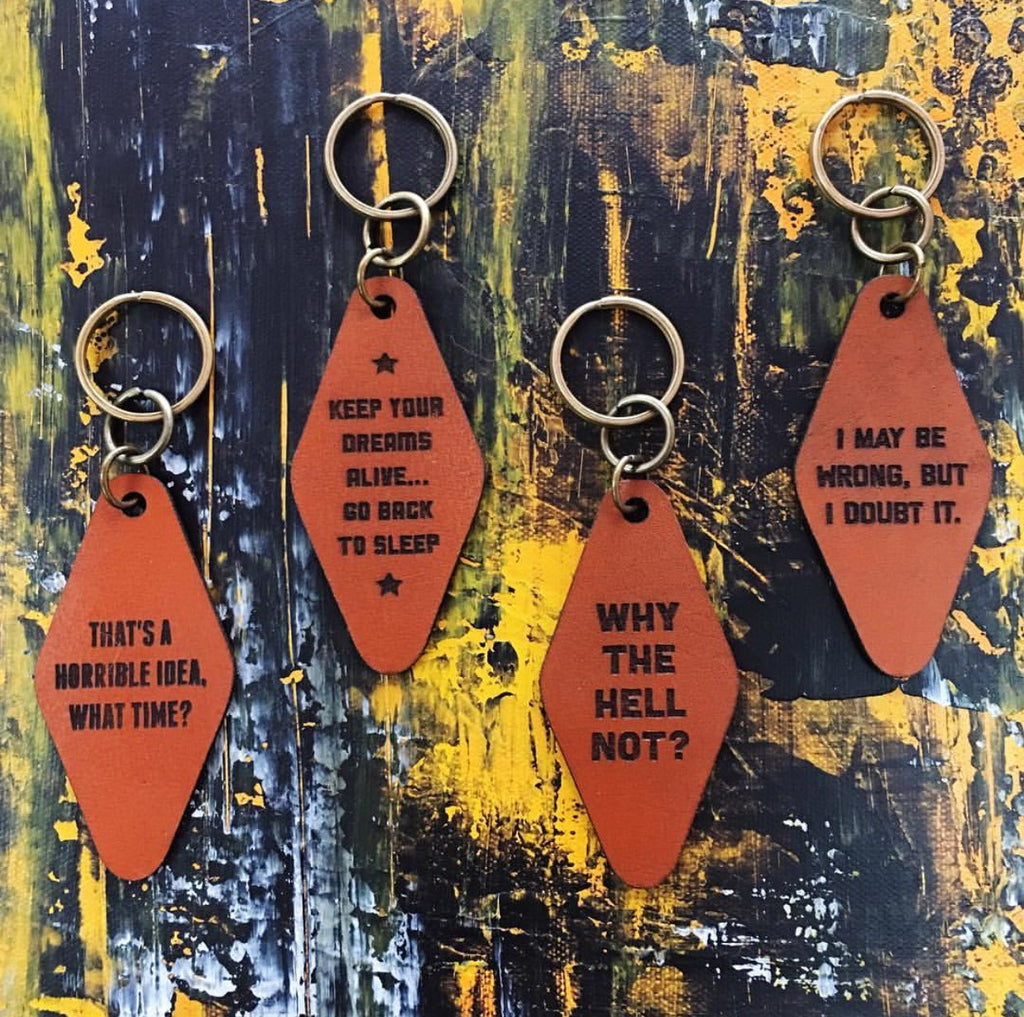 Words of Wisdom Leather Key Tags