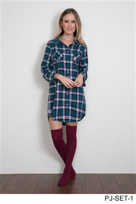 Simply Noelle Shimmer Plaid Top, Sock and Eye Mask Set