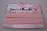 Two Pack Breast Cancer Awareness Bracelet Set