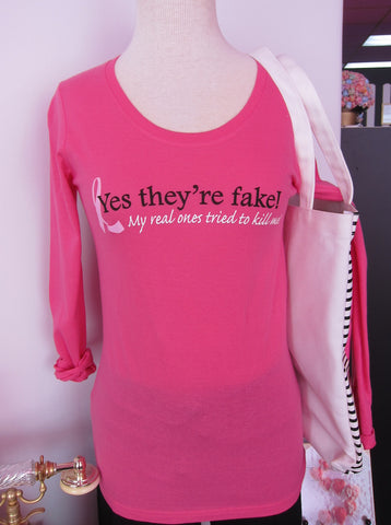 """Yes, They're Fake"" long sleeve tee"