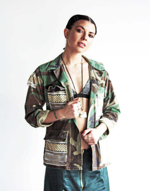 untamed recycled camo sequin jacket