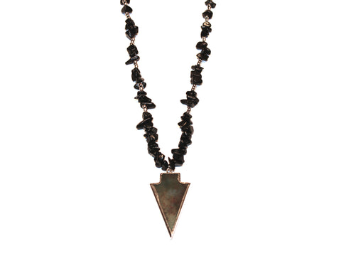 Deepest Night Stone Arrow Necklace