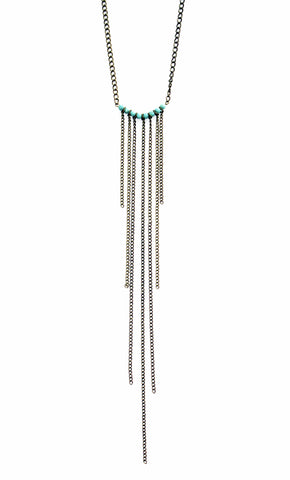 Rebel Ocean Turquoise Fringe Necklace