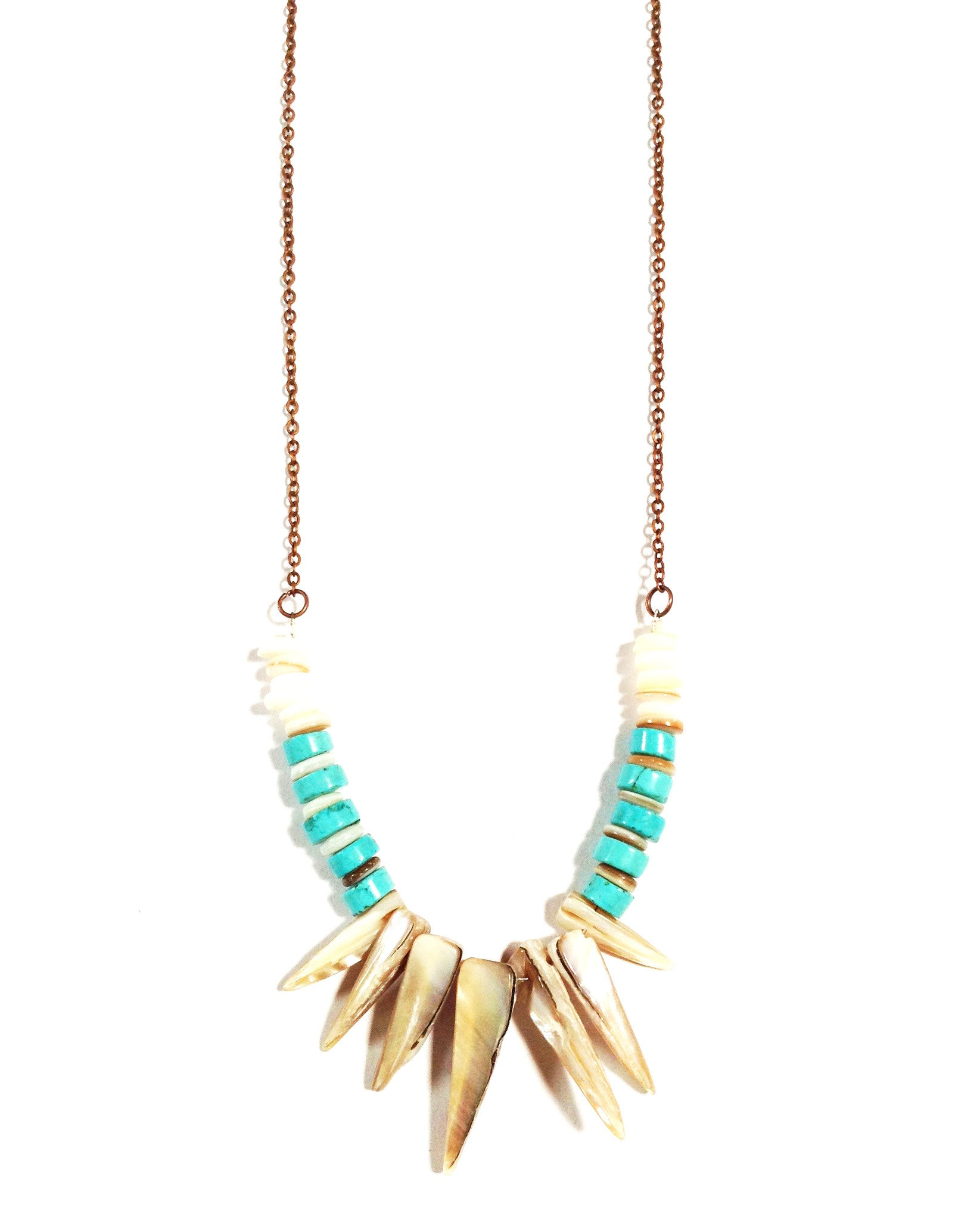 dream walker turquoise stone shell fringe necklace