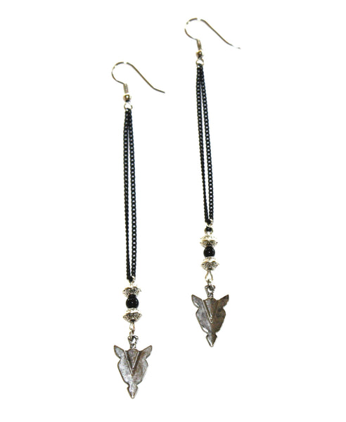 Night Rebel Double Chain Arrowhead Earrings
