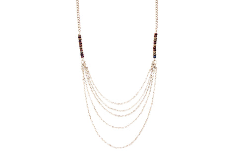 Rebel Joy SIlver Cascading Chain Necklace