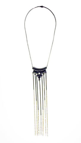 Vivid Darkness Fringe Necklace