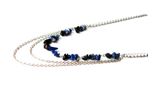 Daring Night Stone Chain Cascading Necklace