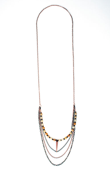 Night Glow Cascading Chain Spike Necklace