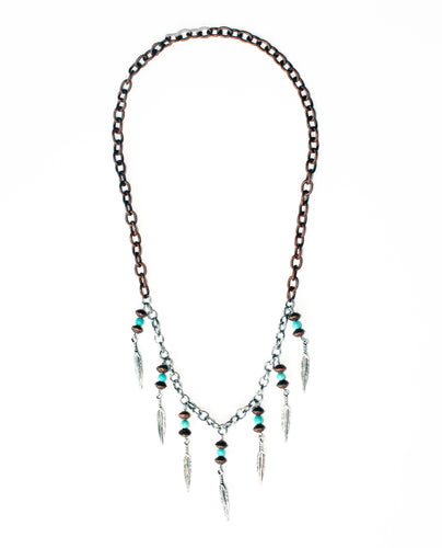 Bold Dreamer Two-Tone Feather Fringe Necklace