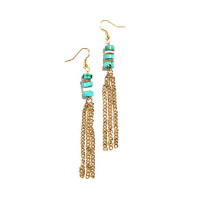 dreamy sun gold turquoise fringe earrings