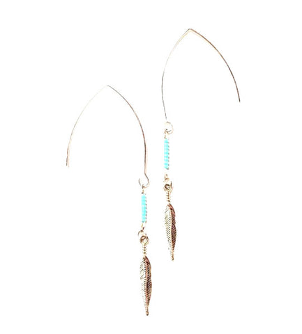 dreamy sky silver hook turquoise feather earrings