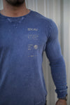 Perforated Performance Long Sleeve (Mineral-Blue/Gold)