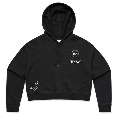 Womens Quoted Crop Hoodie (Black)