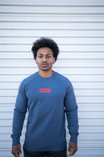 Box Crewneck (Petrol Blue - Red)