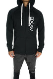 Vert-Print Full Zip Scoop Hoodie (Black)