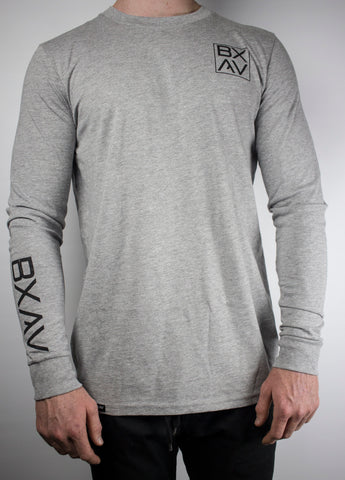 BXAV Stamped Split Hem Long Sleeve (Heather Gray)