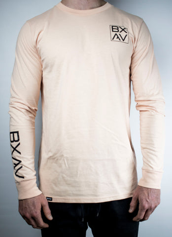 BXAV Stamped Split Hem Long Sleeve (Peach)