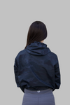 Active Print Crop-Top Windbreaker ( Black Camo )