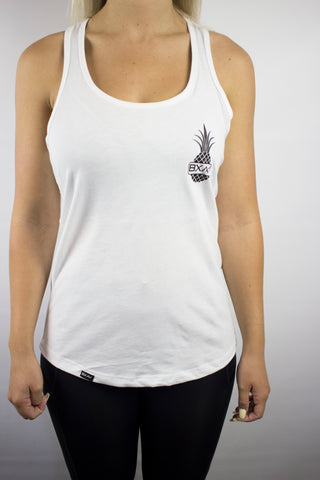 Womens Pineapple Racerback (White/Black)