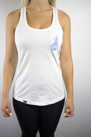 Womens Pineapple Racerback (White/Pastel Blue)