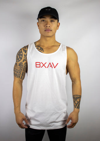 BXAV Split Hem Tank (White/Red)