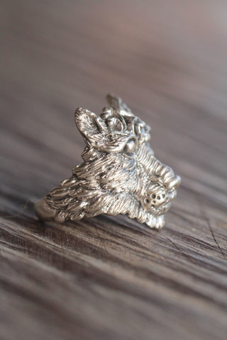 Handcarved Solid Sterling Wolf Ring for Men