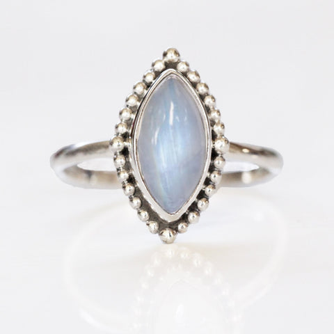 Granulated Marquise Rainbow Moonstone Ring
